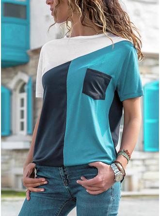 Geblockte Farben Rundhalsausschnitt Kurze Ärmel Freizeit Stricken T-shirts