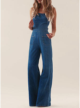 Solid Denim Strapless Sleeveless Casual Jumpsuit