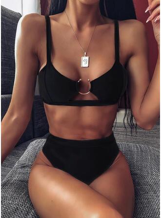 Einfarbig High Leg Träger Sexy Schön Klassisch Bikinis Bademode