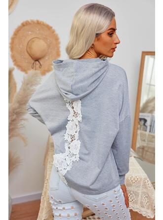 Solid Lace Hooded Long Sleeves Hoodie