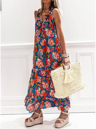 Druck/Blumen Ärmellos Shift Freizeit/Urlaub Maxi Kleider