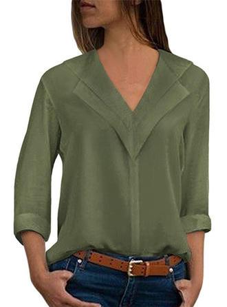 Einfarbig V-Ausschnitt Lange Ärmel Freizeit Elegant Stricken Blusen