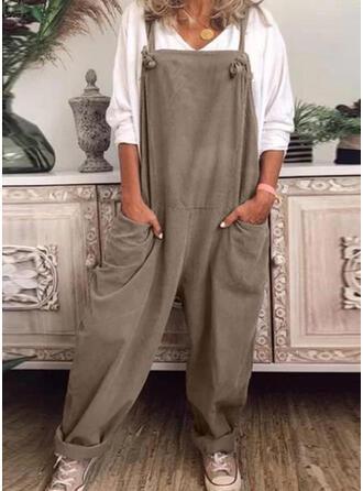 Einfarbig Taschen Übergröße Lange Lässige Kleidung Sportlich Overalls & Strampler