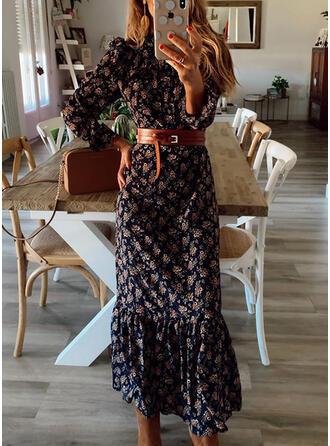 Print Long Sleeves/Puff Sleeves Sheath Casual Midi Dresses