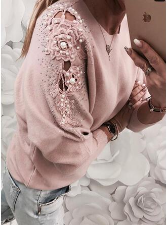 Einfarbig Spitze Perlen Rundhalsausschnitt Freizeit Pullover