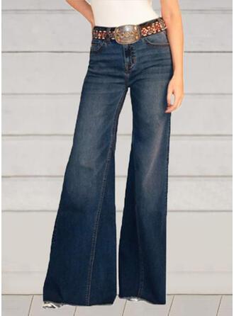 Solid Long Elegant Vintage Plus Size Pocket Shirred Pants Denim & Jeans