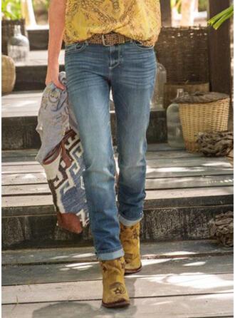 Taschen Shirred Übergröße Lange Lässige Kleidung Stammes Denim Jeans