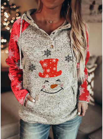 Drucken Lange Ärmel Weihnachts-Sweatshirt