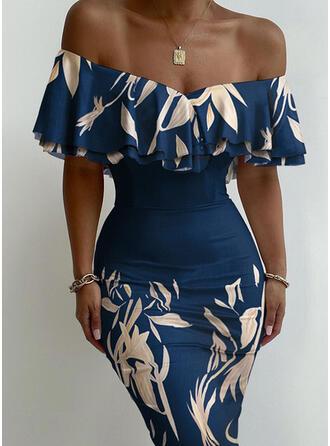 Print/Floral Short Sleeves Bodycon Knee Length Party/Elegant Pencil Dresses