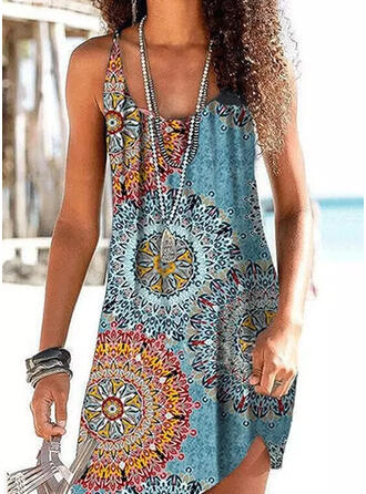 Print Strap U-Neck Vintage Vacation Cover-ups Swimsuits