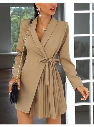 Solid Long Sleeves Asymmetrical Above Knee Elegant Dresses