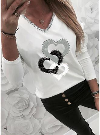 Drucken Pailletten Herz V-Ausschnitt Lange Ärmel Freizeit T-shirts