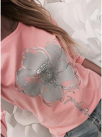 Drucken Blumen Figur Rundhalsausschnitt Lange Ärmel Freizeit T-shirts