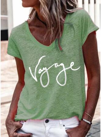 Druck Buchstaben V-Ausschnitt Kurze Ärmel T-Shirts