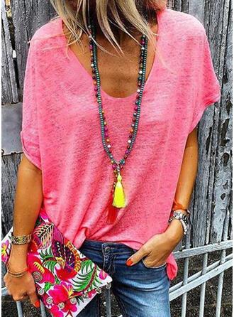 Einfarbig Rundhalsausschnitt Kurze Ärmel Freizeit Basic Stricken T-shirts
