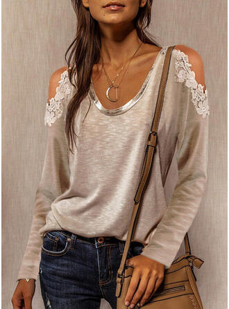 Solid Lace Cold Shoulder Long Sleeves T-shirts