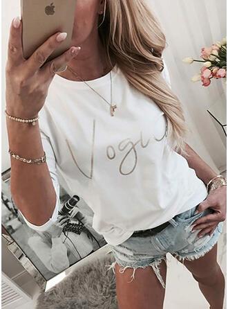 Drucken Figur Rundhalsausschnitt Lange Ärmel Freizeit T-shirts