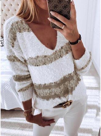 Geblockte Farben Grobstrick V-Ausschnitt Freizeit Pullover