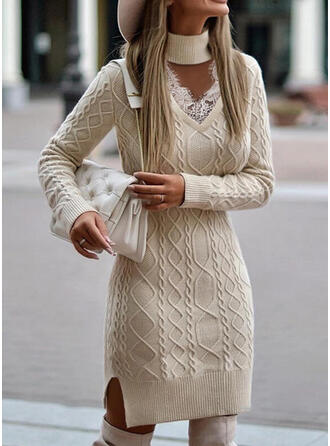 Solid Cable-knit Lace High Neck Casual Sweater Dress