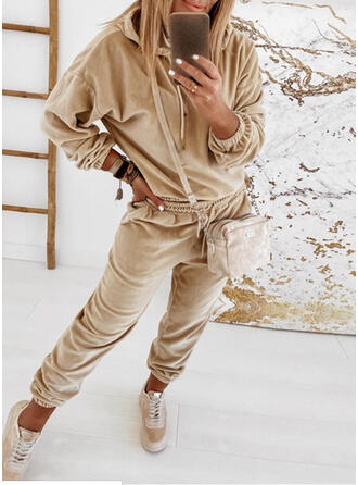 Einfarbig Shirred Kordelzug Lässige Kleidung Sportlich Anzüge
