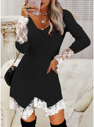 Color Block Lace V-Neck Casual Sweater Dress
