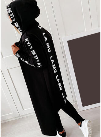 Print Letter Hooded Casual Sweaters