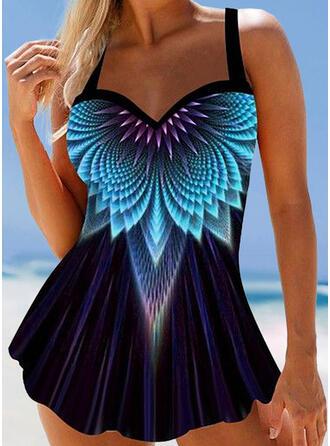 Drucken Spleiß Farbe Träger V-Ausschnitt Übergröße Ins Auge Fallend Badekleider Bademode