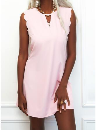 Solid Sleeveless Shift Above Knee Casual/Elegant Dresses