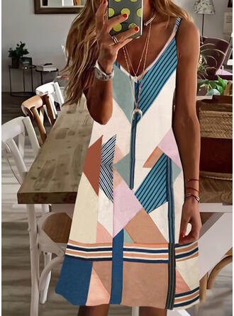 Color Block/Striped/Geometric Print Sleeveless A-line Above Knee Casual/Vacation Slip/Skater Dresses