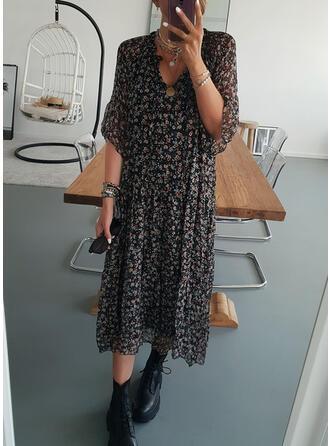 Print/Floral 1/2 Sleeves Shift Tunic Casual Midi Dresses