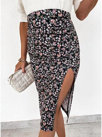 Baumwollmischungen Drucken Blumen Asymmetrisch High-Schlitz Röcke