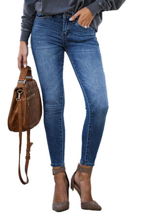 Taschen Shirred Lange Elegant Sexy Denim Jeans