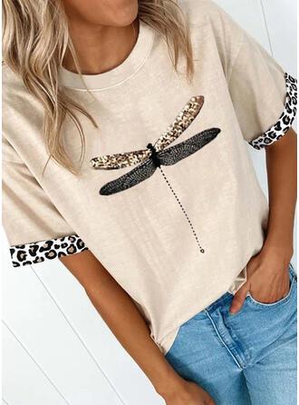 Mit Tierdruck Leopard Rundhalsausschnitt Kurze Ärmel T-Shirts