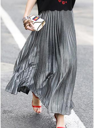 Baumwollmischungen Einfarbig Maxi Faltenröcke
