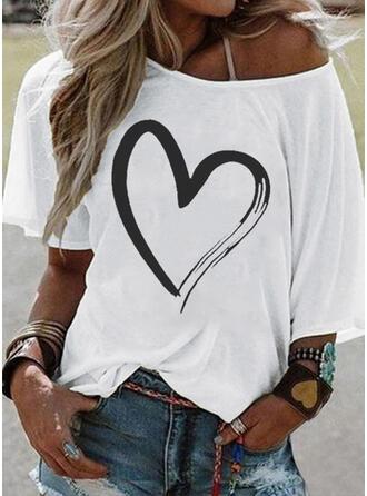 Drucken Eine-Schulter 1/2 Ärmel Freizeit T-shirts