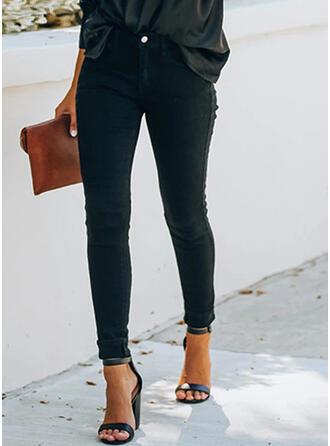 Einfarbig Shirred Übergröße Lange Elegant Sexy Dünn Denim Jeans