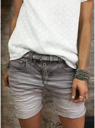 Übergröße Über dem Knie Lässige Kleidung Jacquard Baumwollstoff Kurze Hose Denim Jeans