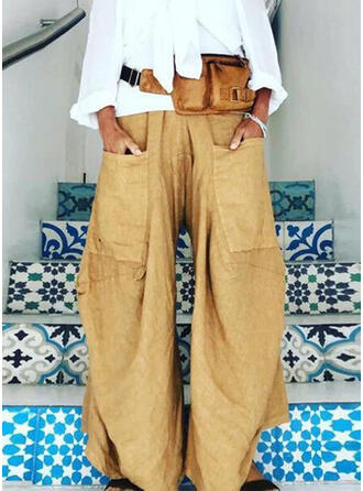 Einfarbig Lange Boho Sportlich Hosen
