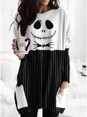 Halloween Print Striped Round Neck Long Sleeves Sweatshirt