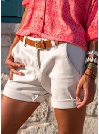 Einfarbig Übergröße Einfach Jahrgang Kurze Hose