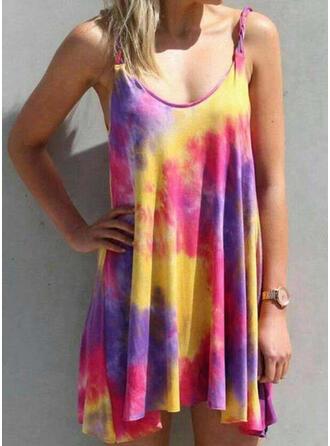 Spleiß Farbe Träger U-Ausschnitt Sexy Übergröße Boho Strandmode Bademode