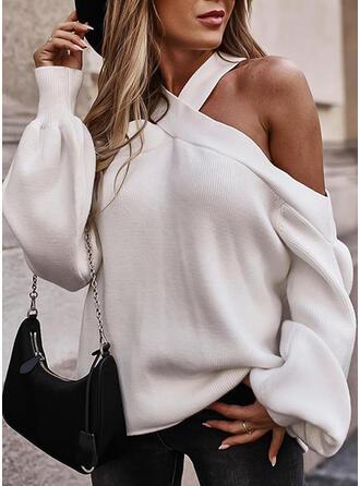 Einfarbig Kalte Schulter Sexy Pullover