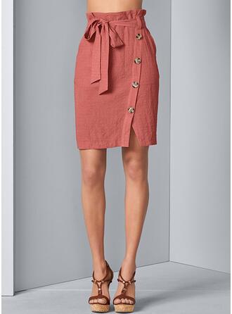 Baumwollmischungen Einfarbig Über dem Knie High-Schlitz Röcke