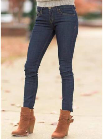 Einfarbig Shirred Übergröße Lässige Kleidung Sexy Denim Jeans