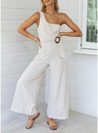 Einfarbig Eine-Schulter Ärmellos Lässige Kleidung Elegant Overall