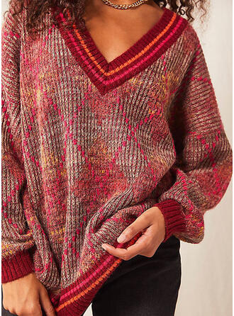 Drucken Gestreift V-Ausschnitt Freizeit Pullover