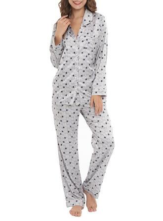 V-Neck Long Sleeves Print Casual Top & Pants Sets