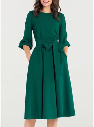 Einfarbig 3/4 Ärmel A-Linien Knielang Vintage/Freizeit/Elegant Kleider