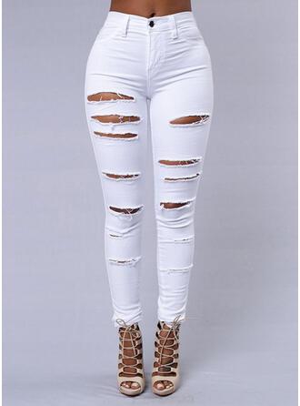 Shirred Zerrissen Lange Sexy Einfach Denim Jeans