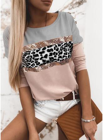 Geblockte Farben Pailletten Leopard Rundhalsausschnitt Lange Ärmel Freizeit T-shirts